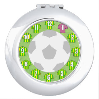 Compact Mirror with Green & Yellow Sport Shirts