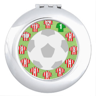 Compact Mirror with Red & White Sport Shirts