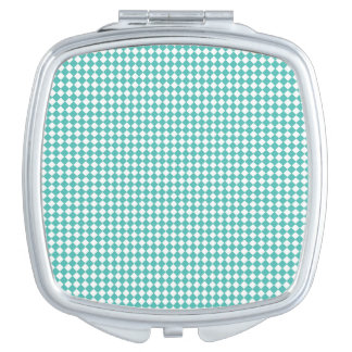 Compact Square Pocket Mirror Aqua Gingham