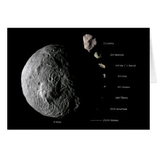 Comparative Size Chart of Nine Asteroids Card