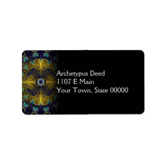 Compass Abstract Digital Fractal Address Label
