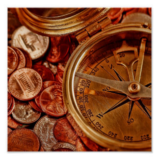 Compass and Money Poster