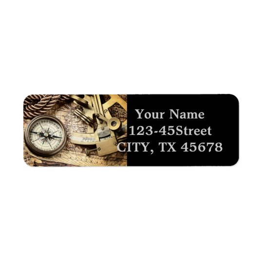 Compass and navigational Charts nautical Return Address Label