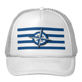 Compass and Stripes Pattern Nautical Inspired Cap