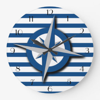 Compass and Stripes Pattern Nautical Inspired Wallclocks