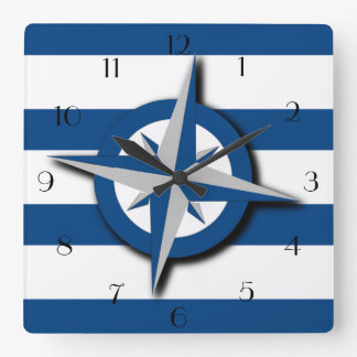 Compass and Wide Stripes Pattern Nautical Inspired Clock