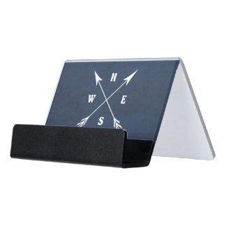 Compass arrows desk business card holder