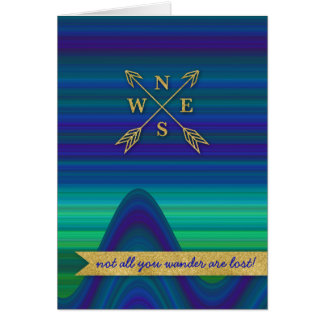 Compass Arrows Direction Gold Blue Green Card