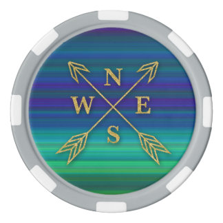 Compass Arrows Direction Gold Blue Green Stripes Poker Chips