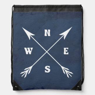 Compass arrows drawstring bag