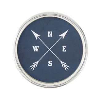 Compass arrows lapel pin