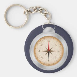 Compass Basic Button Keychain