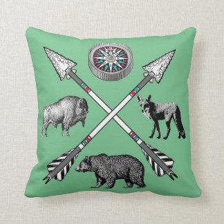 Compass Bear Fox Buffalo Crossed Arrows Cushion