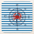 Compass Blue and White Strip Paper Coasters