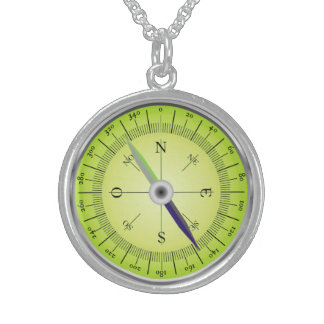 Compass Design Sterling Silver Necklace