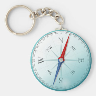 Compass East North South West Compass Rose Basic Round Button Key Ring