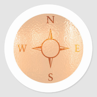 COMPASS East West North South NEWS Round Sticker