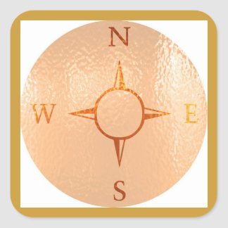 COMPASS East West North South NEWS Square Sticker