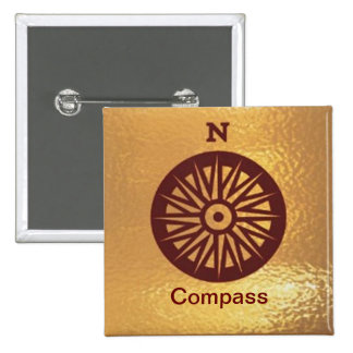 Compass Instrument Direction - Medal Icon Gold Pinback Button