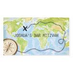 Compass Map Travel Bar Bat Mitzvah Placecard Pack Of Standard Business Cards