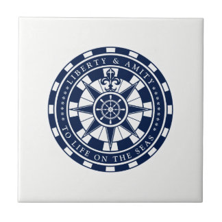 Compass, Nautical Star, Blue and White, Nautical Ceramic Tile