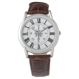 Compass, Nautical Theme Brown Leather Watch