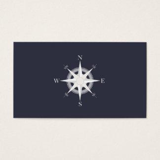 Compass Navy Blue Nautical Business Card