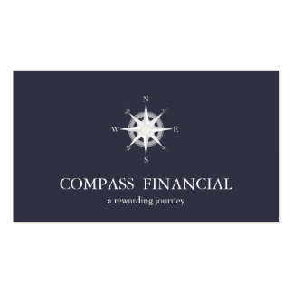 Compass Navy Blue Nautical Financial Advisor Pack Of Standard Business Cards