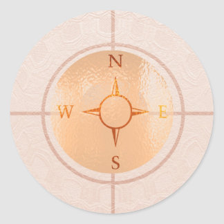 COMPASS NEWS North East West South Round Sticker