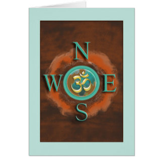 Compass Om Peace on Earth Greeting Card
