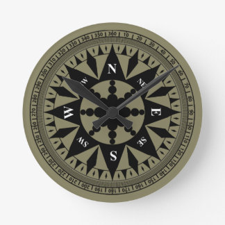 Compass Rose #2 Round Clock