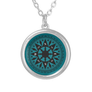 Compass Rose #2 Silver Plated Necklace