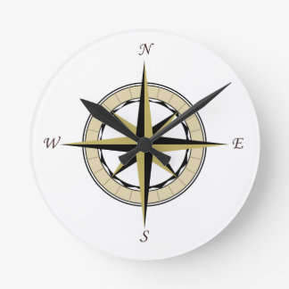 Compass Rose Art Round Clock