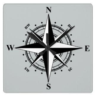 Compass Rose Black & White Wall Clocks