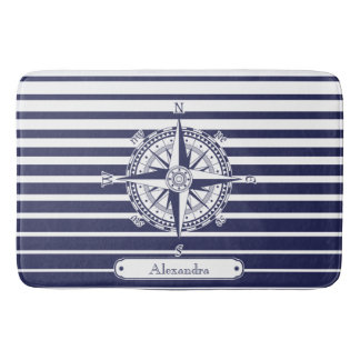 Compass Rose Blue Stripes Bath Mat
