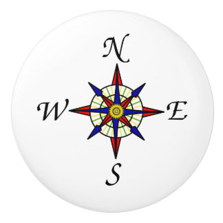 Compass Rose Ceramic Knob