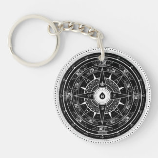 Compass Rose - Keychain (Black)