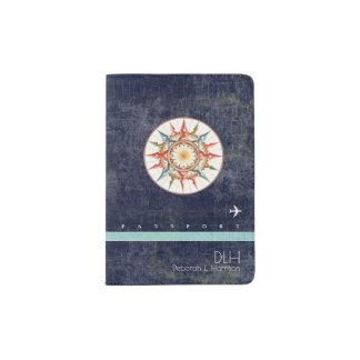 compass rose + name & initials, elegant aged blue passport holder