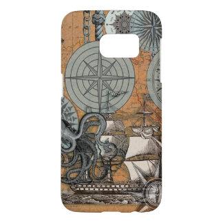 Compass Rose Nautical Art Print Ship Octopus