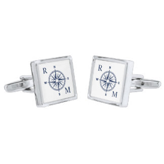 Compass Rose Nautical Monogram Silver Finish Cuff Links