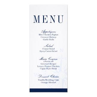 Compass Rose Nautical Wedding Dinner Menu Card