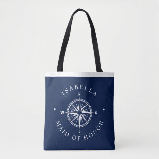 Compass Rose Nautical Wedding Party Navy Tote Bag