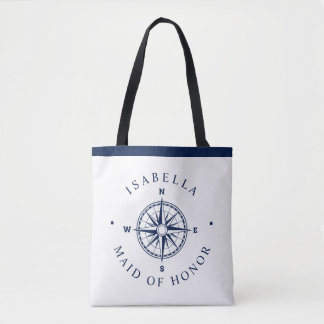 Compass Rose Nautical Wedding Party Tote Bag