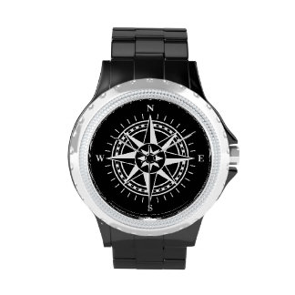 Compass rose on black background watches