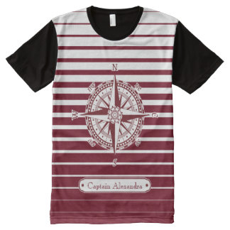Compass Rose on Red Stripes All-Over Print T-Shirt