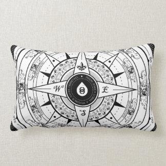 Compass Rose - Rectangle Throw Pillow (White)