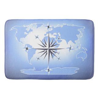 Compass Rose Sailing Ocean Blue Bath Mat Bath Mats