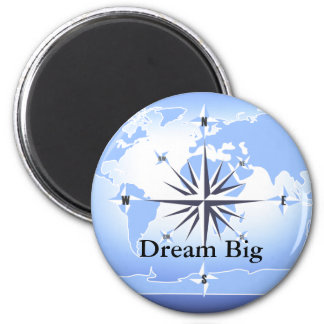 Compass Rose Sailing Ocean Blue Dream Big Magnet