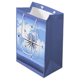 Compass Rose Sailing Ocean Blue Med Gift Bag