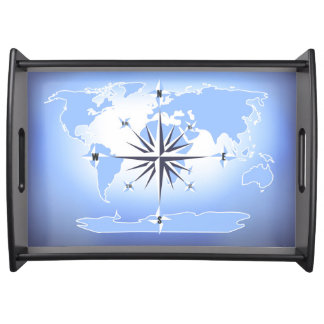Compass Rose Sailing Ocean Blue Serving Tray